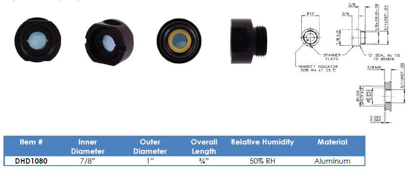 "DHD1080 - 3/4"" UN Thread 50% RH Humidity Indicator"
