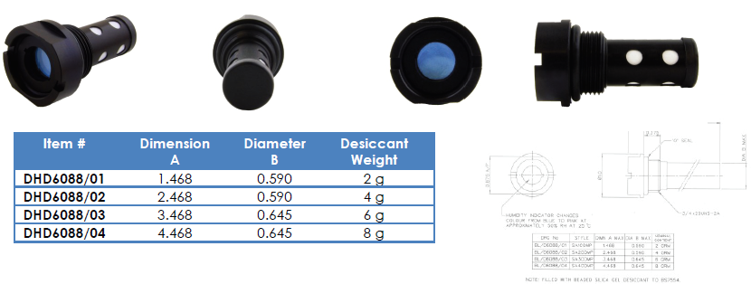 DHD6088/01-04 - 2g to 8g Panel Mounting Desiccator