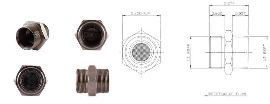 DH/D6604- 1.5 BSP Thread Outward Relief Valve (Stainless Steel)