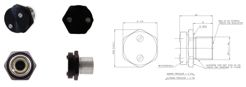 DH/D9629 - M14 Thread Double Differential Relief Valve (W/ Weather Shield)