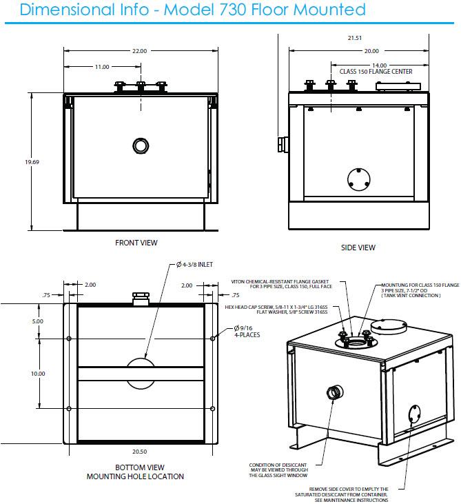 Model 730 Dimensional Info